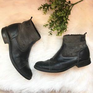 MENS Alfani black grey leather boots